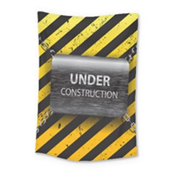 Under Construction Sign Iron Line Black Yellow Cross Small Tapestry by Mariart