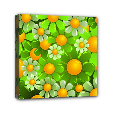Sunflower Flower Floral Green Yellow Mini Canvas 6  X 6  by Mariart