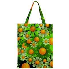 Sunflower Flower Floral Green Yellow Zipper Classic Tote Bag by Mariart