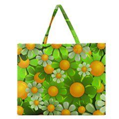 Sunflower Flower Floral Green Yellow Zipper Large Tote Bag by Mariart