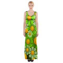 Sunflower Flower Floral Green Yellow Maxi Thigh Split Dress by Mariart