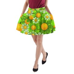 Sunflower Flower Floral Green Yellow A Line Pocket Skirt by Mariart