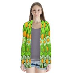 Sunflower Flower Floral Green Yellow Cardigans by Mariart
