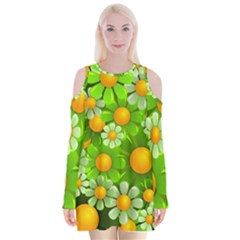 Sunflower Flower Floral Green Yellow Velvet Long Sleeve Shoulder Cutout Dress by Mariart