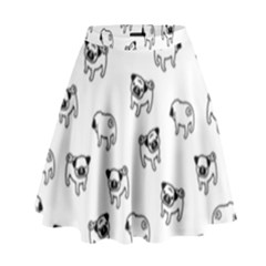 Pug Dog Pattern High Waist Skirt