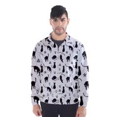 Black Cats And Witch Symbols Pattern Wind Breaker (men) by Valentinaart