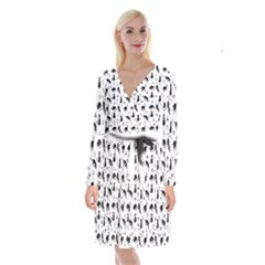 Black Cats And Witch Symbols Pattern Long Sleeve Velvet Front Wrap Dress