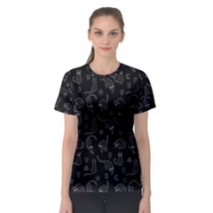 Black Cats And Witch Symbols Pattern Women s Sport Mesh Tee by Valentinaart