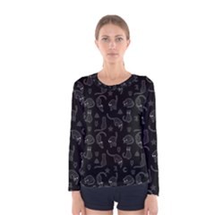 Black Cats And Witch Symbols Pattern Women s Long Sleeve Tee by Valentinaart