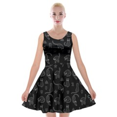 Black Cats And Witch Symbols Pattern Velvet Skater Dress by Valentinaart