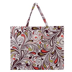 Colorful Abstract Floral Background Zipper Large Tote Bag by TastefulDesigns