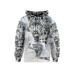 Snow Leopard  Kids  Zipper Hoodie by kostart