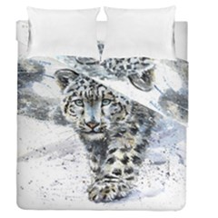 Snow Leopard  Duvet Cover Double Side (queen Size) by kostart