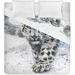 Snow Leopard  Duvet Cover Double Side (king Size) by kostart