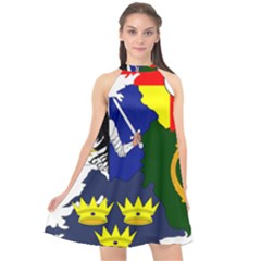 Flag Map Of Provinces Of Ireland  Halter Neckline Chiffon Dress