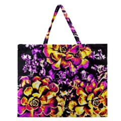 Purple Yellow Flower Plant Zipper Large Tote Bag by Costasonlineshop