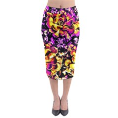 Purple Yellow Flower Plant Midi Pencil Skirt by Costasonlineshop