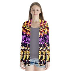 Purple Yellow Flower Plant Cardigans by Costasonlineshop