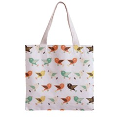 Assorted Birds Pattern Zipper Grocery Tote Bag by linceazul