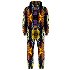 Mystic Yellow Blue Ornament Pattern Hooded Jumpsuit (men)  by Costasonlineshop