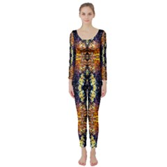 Mystic Yellow Blue Ornament Pattern Long Sleeve Catsuit by Costasonlineshop