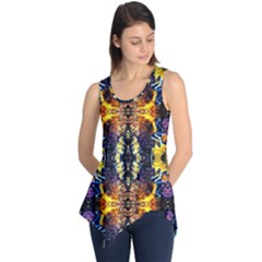 Mystic Yellow Blue Ornament Pattern Sleeveless Tunic by Costasonlineshop
