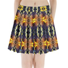 Mystic Yellow Blue Ornament Pattern Pleated Mini Skirt by Costasonlineshop