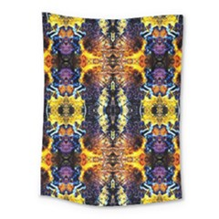 Mystic Yellow Blue Ornament Pattern Medium Tapestry by Costasonlineshop