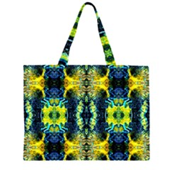 Mystic Yellow Green Ornament Pattern Zipper Large Tote Bag by Costasonlineshop