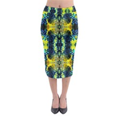 Mystic Yellow Green Ornament Pattern Midi Pencil Skirt by Costasonlineshop