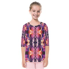 Mystic Red Blue Ornament Pattern Kids  Quarter Sleeve Raglan Tee