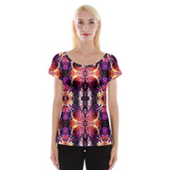 Mystic Red Blue Ornament Pattern Women s Cap Sleeve Top