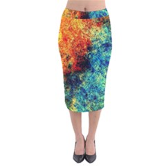 Orange Blue Background Velvet Midi Pencil Skirt by Costasonlineshop