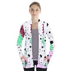 Star Flowers       Women s Open Front Pockets Cardigan