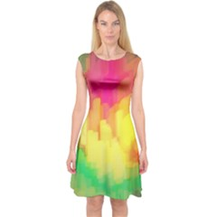 Pastel Shapes Painting            Capsleeve Midi Dress by LalyLauraFLM