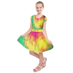 Pastel Shapes Painting                Kids  Short Sleeve Dress by LalyLauraFLM