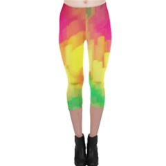 Pastel Shapes Painting            Capri Leggings by LalyLauraFLM