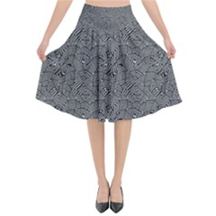 Modern Intricate Optical Pattern Flared Midi Skirt by dflcprintsclothing