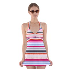 Stripes Print Designs 5 Halter Swimsuit Dress by beatbeatwing