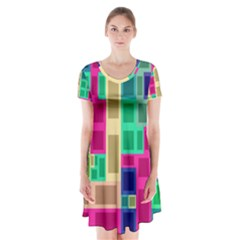 Rectangles And Squares                  Short Sleeve V Neck Flare Dress by LalyLauraFLM