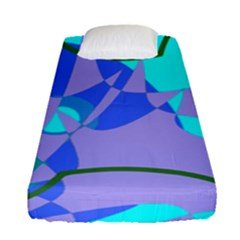 Purple Blue Shapes             Fitted Sheet (single Size) by LalyLauraFLM