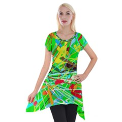 Colorful Painting On A Green Background              Short Sleeve Side Drop Tunic by LalyLauraFLM