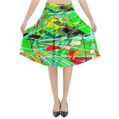 Colorful Painting On A Green Background           Flared Midi Skirt by LalyLauraFLM