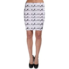 Black And White Wavy Stripes Pattern Bodycon Skirt by dflcprintsclothing