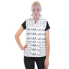 Black And White Wavy Stripes Pattern Women s Button Up Puffer Vest by dflcprintsclothing