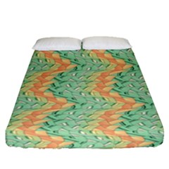 Emerald And Salmon Pattern Fitted Sheet (queen Size) by linceazul