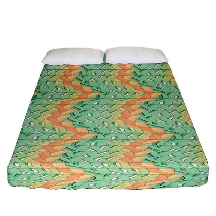 Emerald And Salmon Pattern Fitted Sheet (California King Size)