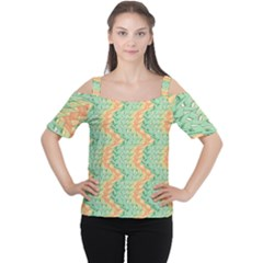 Emerald And Salmon Pattern Women s Cutout Shoulder Tee by linceazul