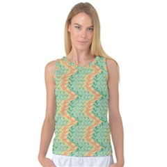 Emerald And Salmon Pattern Women s Basketball Tank Top by linceazul