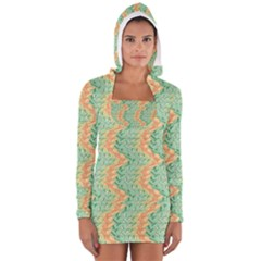 Emerald And Salmon Pattern Women s Long Sleeve Hooded T Shirt by linceazul